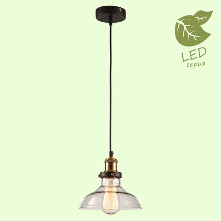 Подвесной светильник Lussole Loft Glen Cove GRLSP-9606, IP21, 1xE27x10W, черный, прозрачный, металл, стекло