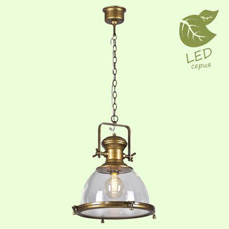 Подвесной светильник Lussole Loft Monsey GRLSP-9611, IP21, 1xE27x10W, бронза, прозрачный, металл, металл со стеклом