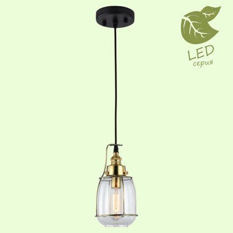 Подвесной светильник Lussole Loft Brighamton GRLSP-9677, IP21, 1xE14x6W, матовое золото, черный, прозрачный, металл, стекло