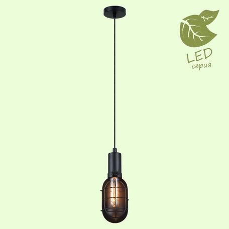 Подвесной светильник Lussole Loft Kingston GRLSP-9816, IP21, 1xE27x10W, черный, металл