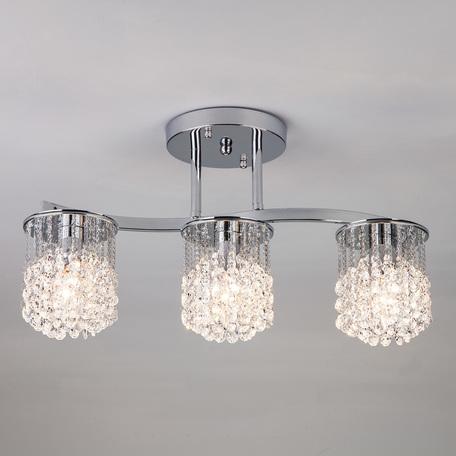 Потолочный светильник Eurosvet Ambroz 3222/3 хром Strotskis, 3xE27x60W, хром, прозрачный, металл, хрусталь