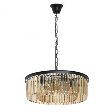 Подвесная люстра MW-Light Гослар 498014806, 6xE14x60W, черный, коньячный, металл, хрусталь