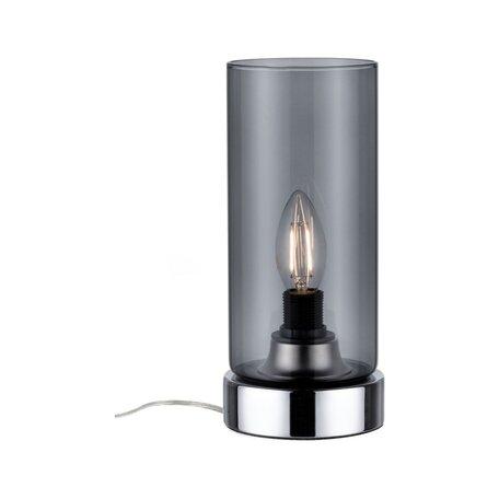 Настольная лампа Paulmann Pinja 77056, 1xE14x20W, хром, дымчатый, прозрачный, металл, стекло