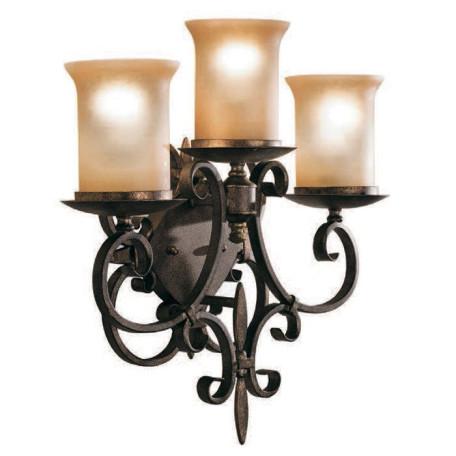 Бра L'Arte Luce Modena L14523.27, 3xE27x60W, коричневый, бежевый, металл, ковка, стекло