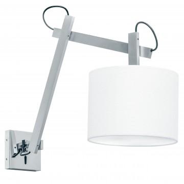 Бра Lightstar Meccano 766619, 1xE27x60W, матовый хром, белый, металл, текстиль