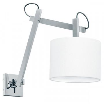 Бра с регулировкой направления света Lightstar Meccano 766619, 1xE27x60W, матовый хром, белый, металл, текстиль