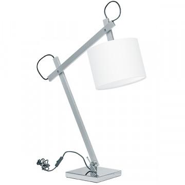 Настольная лампа Lightstar Meccano 766919, 1xE27x60W, матовый хром, белый, металл, текстиль