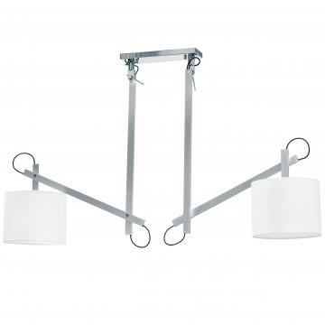Потолочный светильник на складной штанге Lightstar Meccano 766029, 2xE27x60W, матовый хром, белый, металл, текстиль