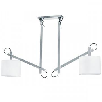 Потолочный светильник с регулировкой направления света на складной штанге Lightstar Meccano 766029, 2xE27x60W, матовый хром, белый, металл, текстиль