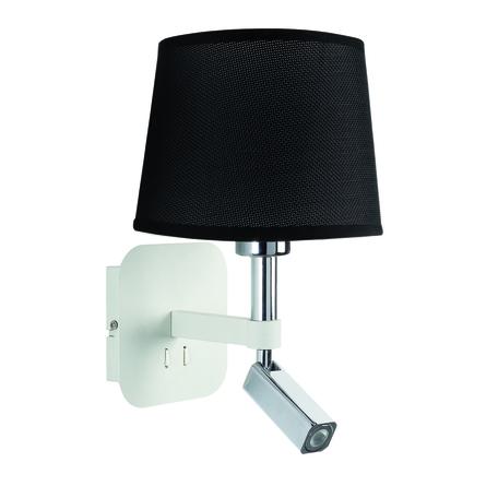 Бра с регулировкой направления света с дополнительной подсветкой Mantra Habana 5316+5238, белый, хром, черный, металл, текстиль