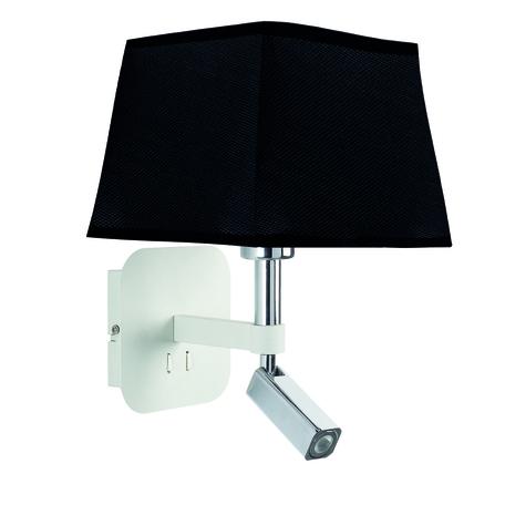Бра с регулировкой направления света с дополнительной подсветкой Mantra Habana 5316+5240, белый, хром, черный, металл, текстиль