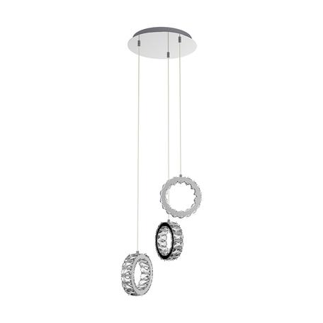 Светодиодная люстра-каскад Zumaline Platt PL180407-3, LED 30W 4000K 1560lm, хром, прозрачный, металл, хрусталь