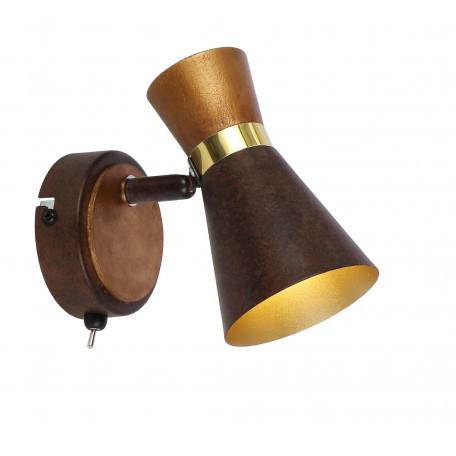 Настенный светильник с регулировкой направления света Globo Marei 54808-1, 1xE14x25W, металл, дерево