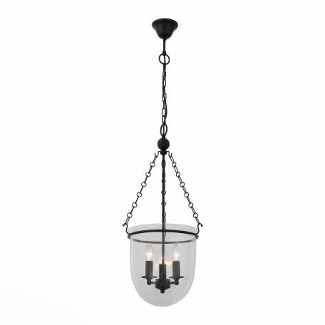 Подвесная люстра ST Luce Sotto SL317.423.03, 3xE14x60W, черный, прозрачный, металл, ковка, стекло