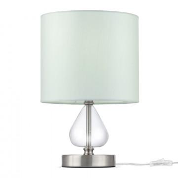 Настольная лампа Maytoni Armony H010TL-01N, 1xE27x40W, никель, прозрачный, голубой, металл, стекло, текстиль