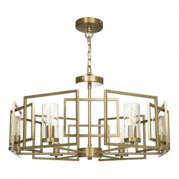 Потолочно-подвесная люстра Maytoni Bowi H009PL-06G, 6xE14x40W, матовое золото, прозрачный, металл, металл со стеклом