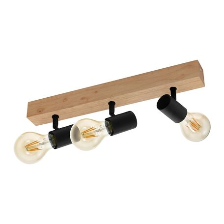 Потолочный светильник с регулировкой направления света Eglo Townshend 3 98113, 3xE27x60W, коричневый, дерево