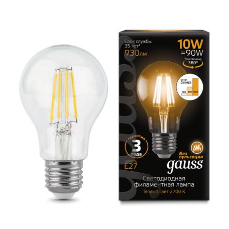 Филаментная светодиодная лампа Gauss 102802110-S груша E27 10W, 2700K (теплый) CRI>90 185-265V, диммируемая, гарантия 3 года