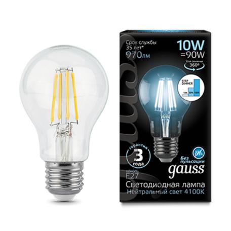 Филаментная светодиодная лампа Gauss 102802210-S груша E27 10W, 4100K (холодный) CRI>90 185-265V, диммируемая, гарантия 3 года
