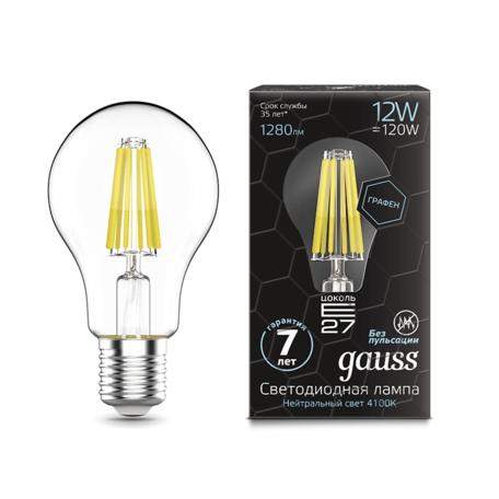 Филаментная светодиодная лампа Gauss Graphene 102802212 груша E27 12W, 4100K (холодный) CRI>90 150-265V, гарантия 7 лет