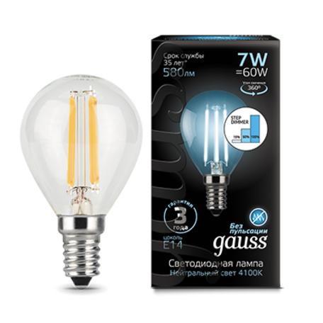 Филаментная светодиодная лампа Gauss 105801207-S шар E14 7W, 4100K (холодный) CRI>90 185-265V, диммируемая, гарантия 3 года
