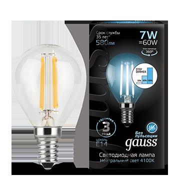 Филаментная светодиодная лампа Gauss 105801207-S шар малый E14 7W, 4100K (холодный) CRI>90 185-265V, диммируемая, гарантия 3 года - фото 1
