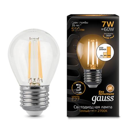 Филаментная светодиодная лампа Gauss 105802107-S шар E27 7W, 2700K (теплый) CRI>90 185-265V, диммируемая, гарантия 3 года