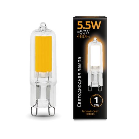 Филаментная светодиодная лампа Gauss 107809105 капсульная G9 5,5W, 3000K (теплый) CRI>90 220-240V, гарантия 1 год