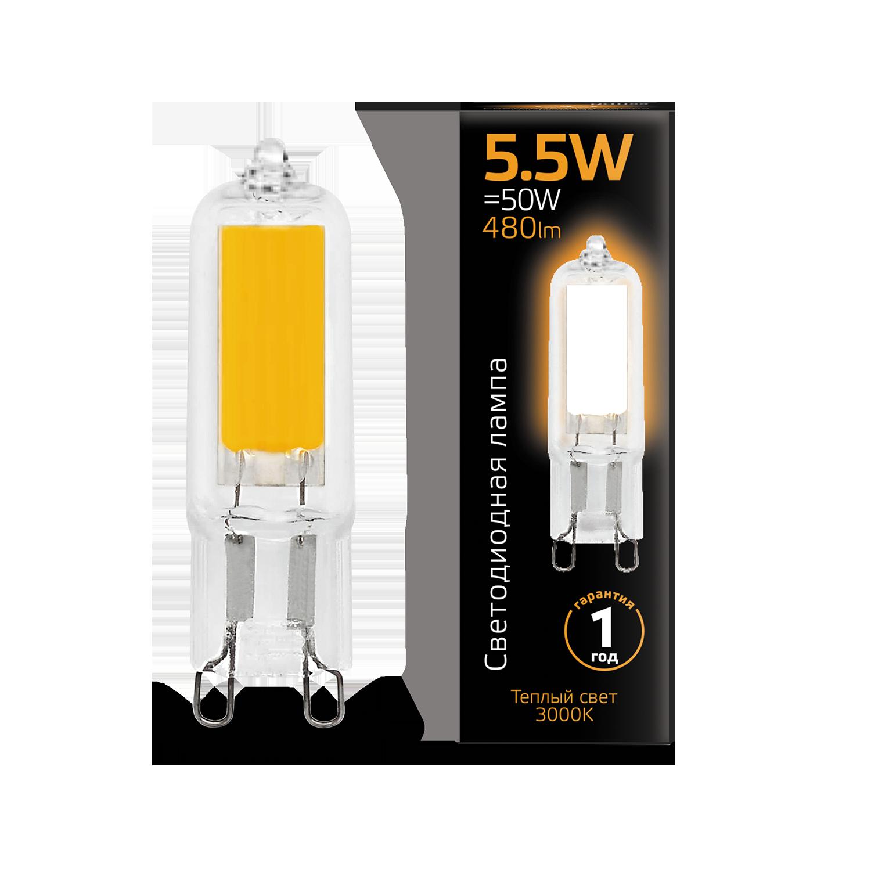 Филаментная светодиодная лампа Gauss 107809105 капсульная G9 5,5W, 3000K (теплый) CRI>90 220-240V, гарантия 1 год - фото 1
