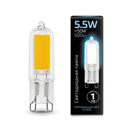 Филаментная светодиодная лампа Gauss 107809205 капсульная G9 5,5W, 4100K (холодный) CRI>90 220-240V, гарантия 1 год
