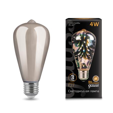 Филаментная светодиодная лампа Gauss 3D-Butterfly 147802404 прямосторонняя груша E27 4W, RGB CRI>90 185-265V, гарантия 3 года