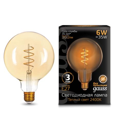 Филаментная светодиодная лампа Gauss 158802008 шар E27 6W, 2400K (теплый) CRI>90 185-265V, гарантия 3 года