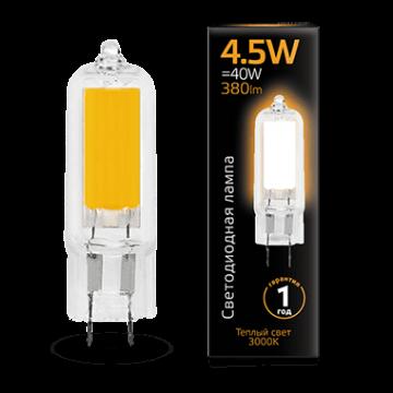Филаментная светодиодная лампа Gauss 107807104 капсульная G4 4,5W, 3000K (теплый) CRI>90 220-240V, гарантия 1 год