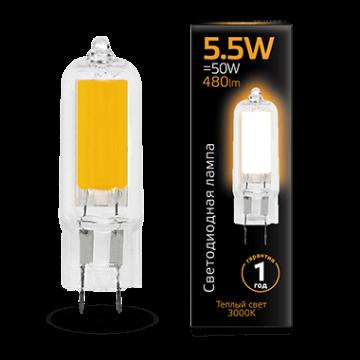 Филаментная светодиодная лампа Gauss 107807105 капсульная G4 5,5W, 3000K (теплый) CRI>90 220-240V, гарантия 1 год