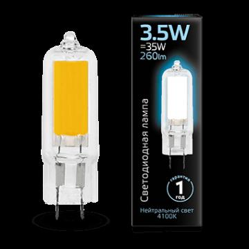 Филаментная светодиодная лампа Gauss 107807203 капсульная G4 3,5W, 4100K (холодный) CRI>90 220-240V, гарантия 1 год