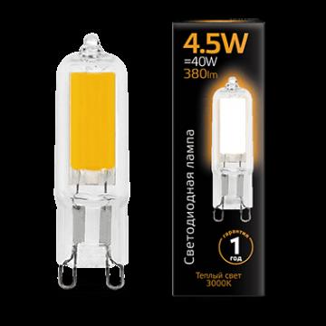 Филаментная светодиодная лампа Gauss 107809104 капсульная G9 4,5W, 3000K (теплый) CRI>90 220-240V, гарантия 1 год