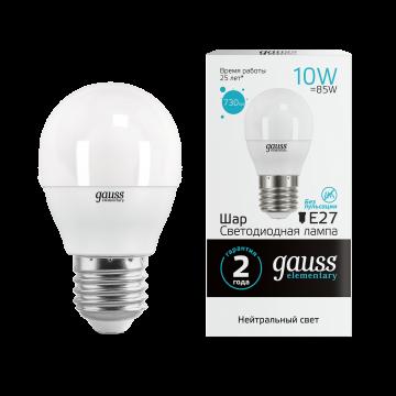 Светодиодная лампа Gauss Elementary 53220 шар E27 10W, 4100K (холодный) CRI>80 180-240V, гарантия 2 года