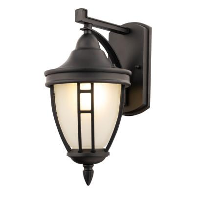 Настенный фонарь Maytoni Rivoli O027WL-01B, IP44, 1xE27x60W, черный, металл, металл со стеклом, стекло с металлом