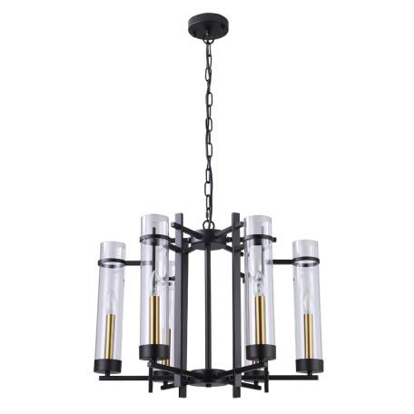 Подвесная люстра Arte Lamp Hugo A1688LM-6BK, 6xE14x60W, черный с золотом, прозрачный, металл, стекло
