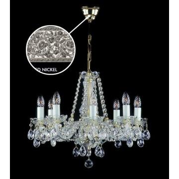 Подвесная люстра Artglass RADKA VIII. FULL CUT R14 WHITE NICKEL CE, 8xE14x40W, белый, никель, прозрачный, стекло, хрусталь Artglass Crystal Exclusive