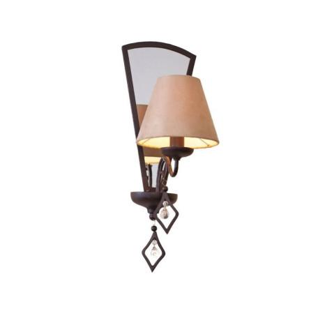 Бра L'Arte Luce Capri L15021.37, 1xE14x60W, коричневый, бежевый, прозрачный, металл, текстиль, стекло