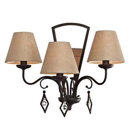 Бра L'Arte Luce Capri L15023.37, 3xE14x60W, коричневый, бежевый, прозрачный, металл, текстиль, стекло
