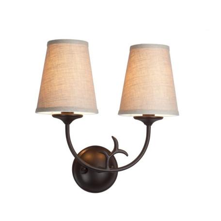 Бра L'Arte Luce Chalet L17822.03, 2xE14x60W, коричневый, серый, металл, ковка, текстиль