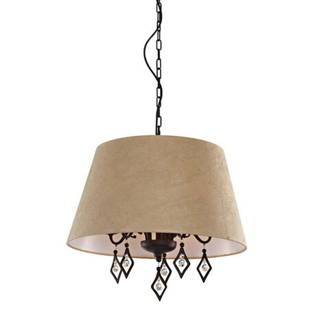 Подвесная люстра L'Arte Luce Capri L15015.37, 5xE14x60W, коричневый, бежевый, прозрачный, металл, текстиль, металл со стеклом/хрусталем