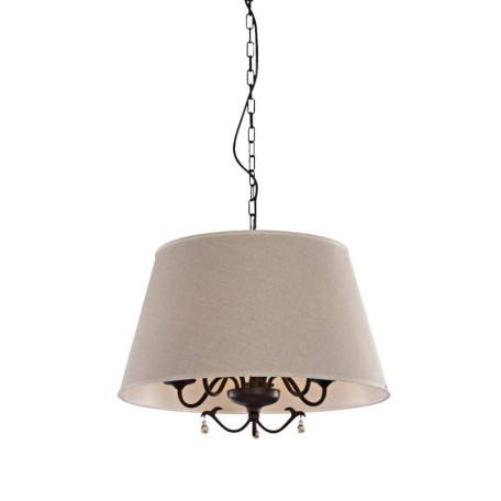 Подвесная люстра L'Arte Luce Chalet L17805.03, 5xE14x60W, коричневый, серый, прозрачный, металл, ковка, текстиль, стекло
