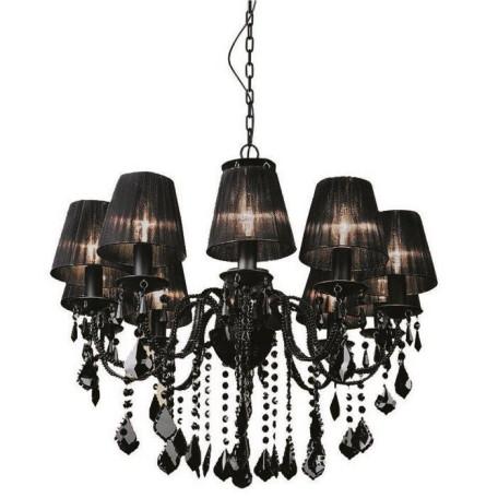 Подвесная люстра L'Arte Luce Palermo L19910.09, 10xE14x40W, черный, металл, текстиль, хрусталь