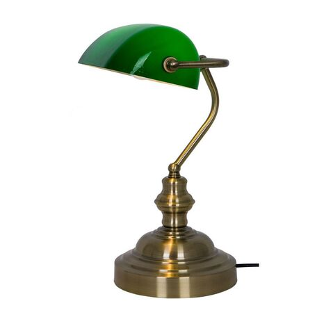 Настольная лампа Zumaline Edes T110810, 1xE27x60W, бронза, зеленый, металл, стекло