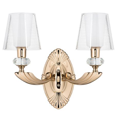 Бра Lightstar Osgona Ramo 690622, 2xE14x40W, золото, белый, прозрачный, металл со стеклом/хрусталем, пластик
