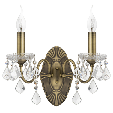 Бра Lightstar Osgona Classic 700621, 2xE14x60W, бронза, прозрачный, металл со стеклом/хрусталем, хрусталь