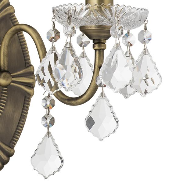 Бра Lightstar Osgona Classic 700621, 2xE14x60W, бронза, прозрачный, металл с хрусталем, хрусталь - фото 4